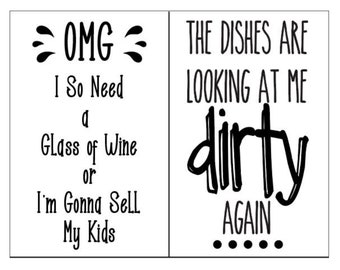 """Magnolia Design Co-Dishes Are Looking At Me-Reusable Adhesive Silkscreen Stencil 8.5"""" X 11""""-Chalk Art DIY"""