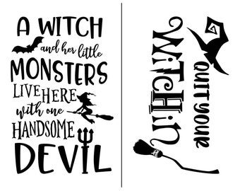 """Magnolia Design Co-A Witch and Her Little Monsters-Reusable Adhesive Silkscreen Stencil 8.5"""" x 11""""-Chalk Art DIY"""