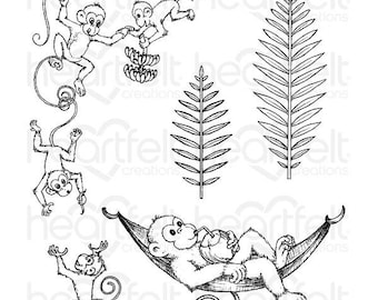 Heartfelt Creations Monkeying Around Cling Stamp Set HCPC-3778