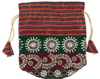 Indian Embroidery  Potli Bag/ Drawstring Batwa Bag - Womens Wedding Bag, Party Bag