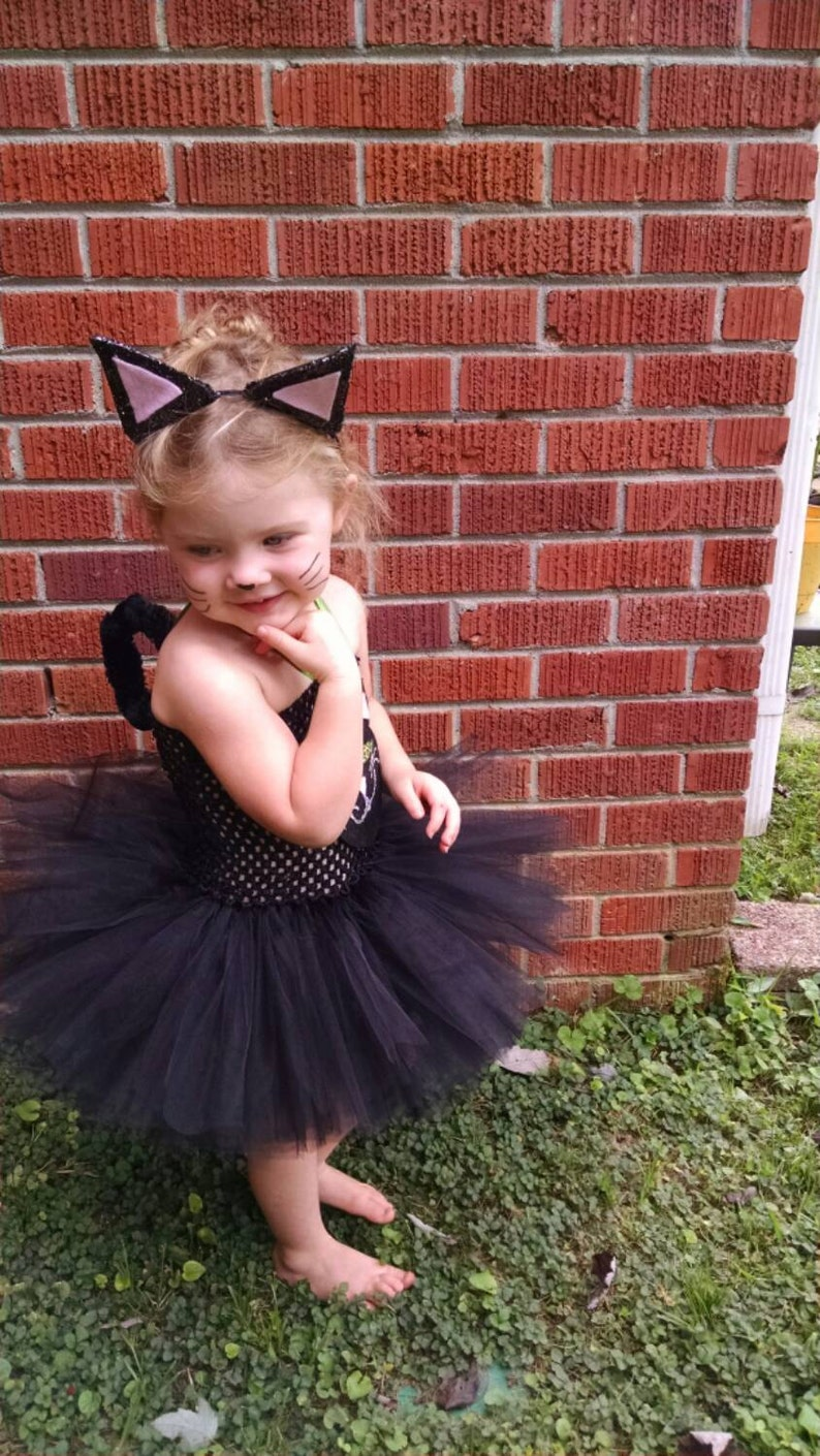 Halloween Toddler Costume Black Tutu Dress Black Cat Toddler Costume Black Cat Costume Tutu Dress including tail and clip on ears