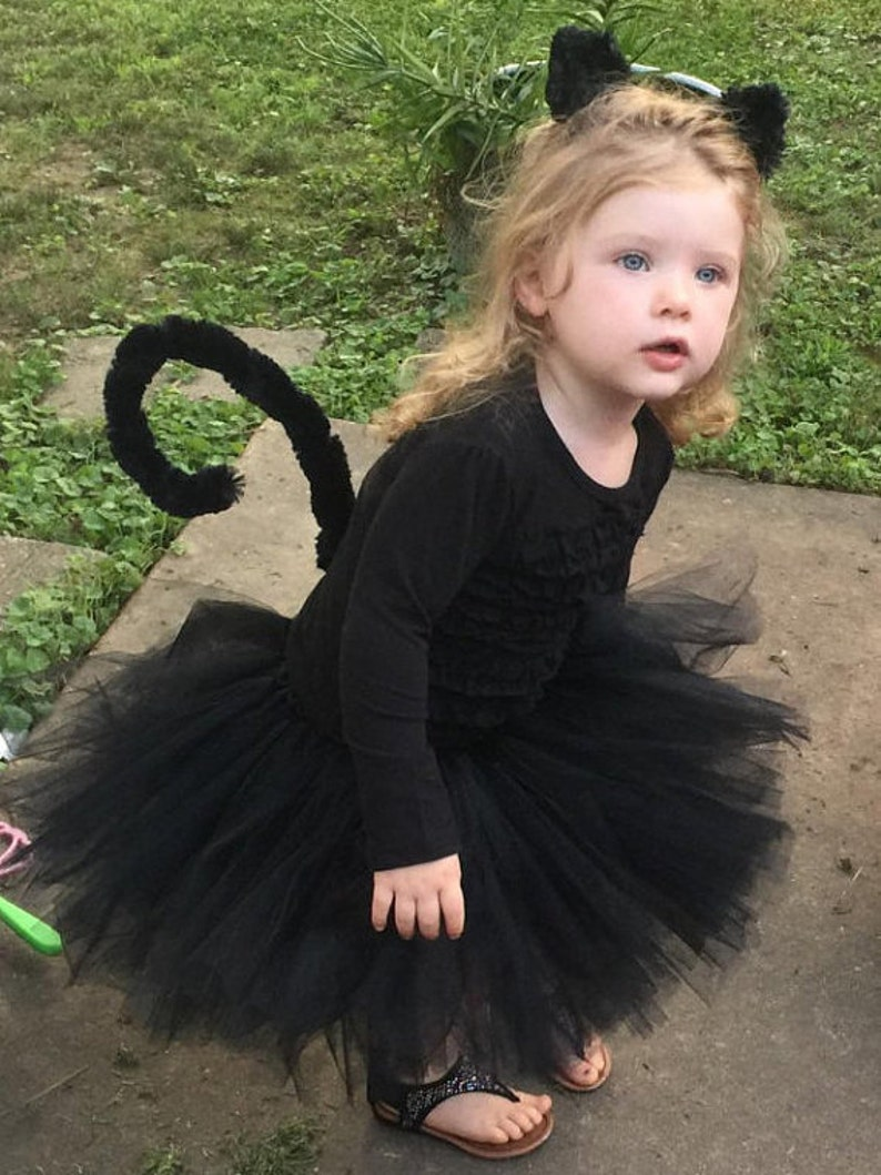 Toddler Blue Red  Cat Kitty Costume Purple Fluffy Tutu Cat Costume Black Cat Costume Tutu Pink Cat Tutu Costume Tail /& Ears