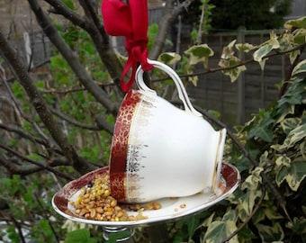 Teacup bird feeder, garden gift, yard ornament, garden decoration, outdoor decor, vintage bird feeder, outdoors gift, cottage garden decor.