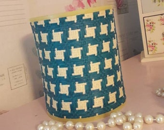 Retro lamp shade, blue, white, weaved, light shade, 1970's lighting design, table lamp shade, retro lighting, vintage home decor.