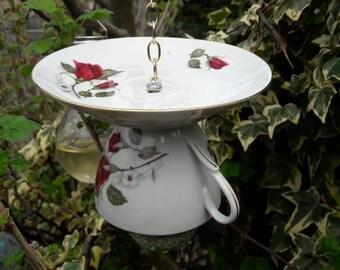 Teacup bird feeder, vintage bird feeder, gift for her, garden ornament, outdoor decor, yard decoration, outdoors gifts, cottage garden decor