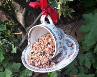 Teacup bird feeder, garden ornament, outdoor decor, yard decoration, outdoor's gift, vintage bird feeder, home gift, cottage garden decor