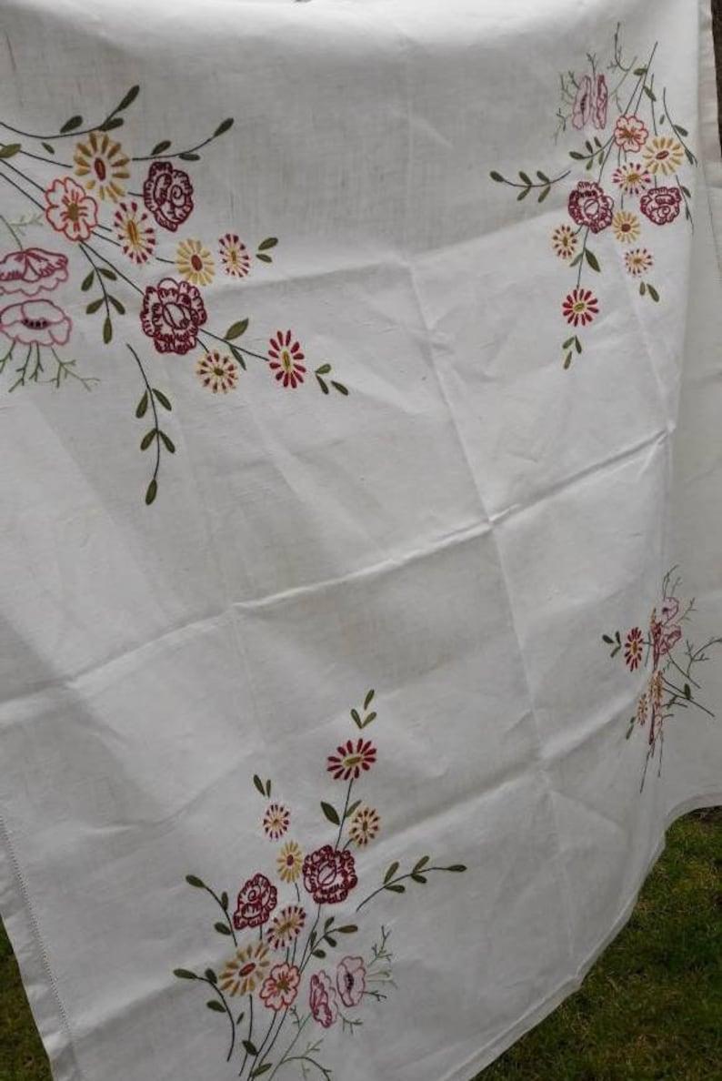 UK/_ EG/_ Retro Letter Pattern Tablecloth Cotton Linen Table Cover Home Decor Gift