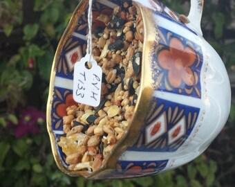 Teacup bird feeder, vintage gift for her, china bird feeder, garden ornament, yard decoration, home gift, garden decoration, outdoor decor