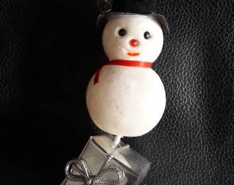Vintage Christmas tree ornament, Snowman bauble Christmas decoration, holidays ornament, 1960's xmas decoration