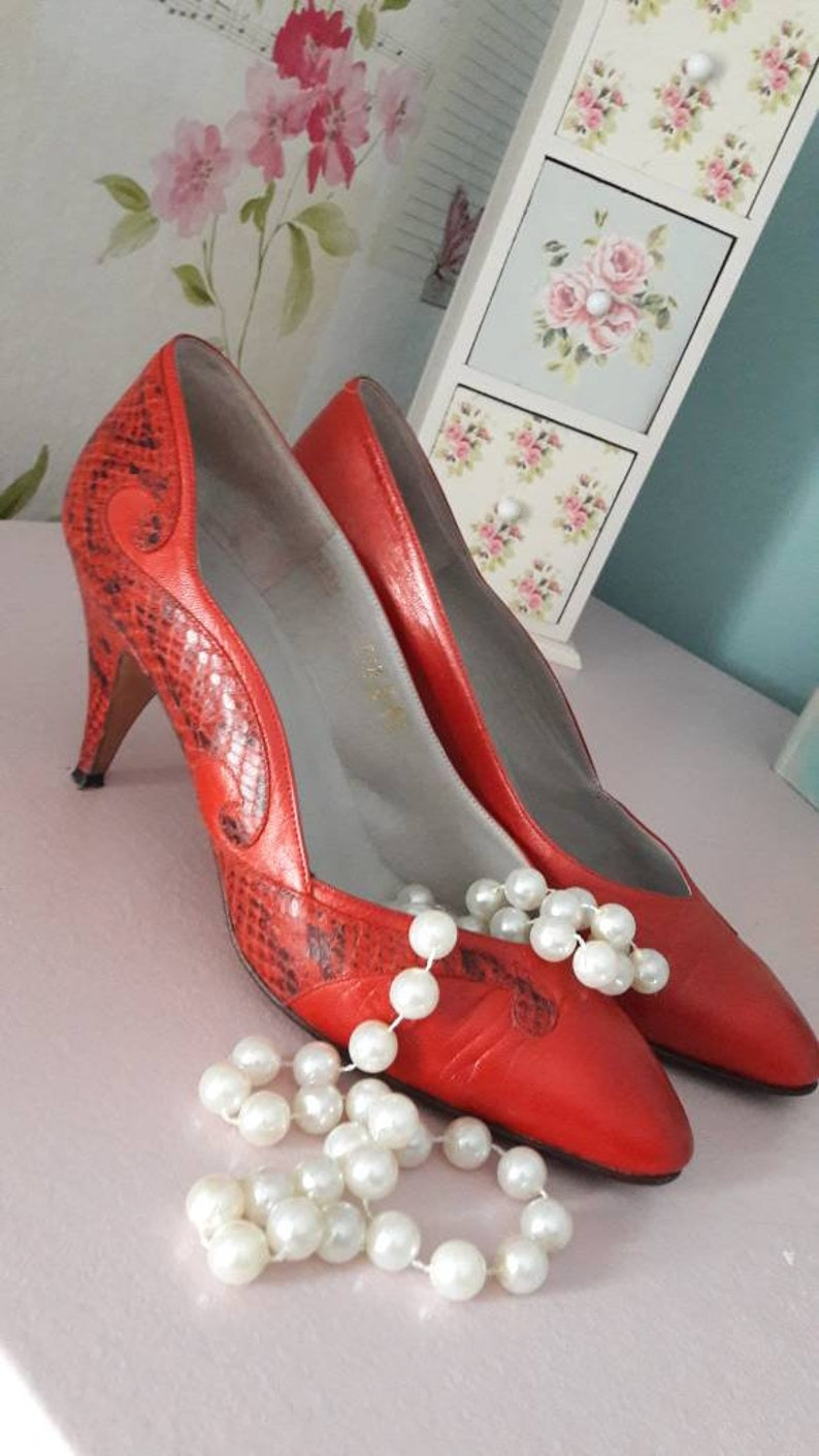 baa57fed8a Vintage Penata shoes, Italian red leather shoes women's 3 inch heels,  1980's ladies size UK 5 US 7 in original box, FREE Uk Shipping