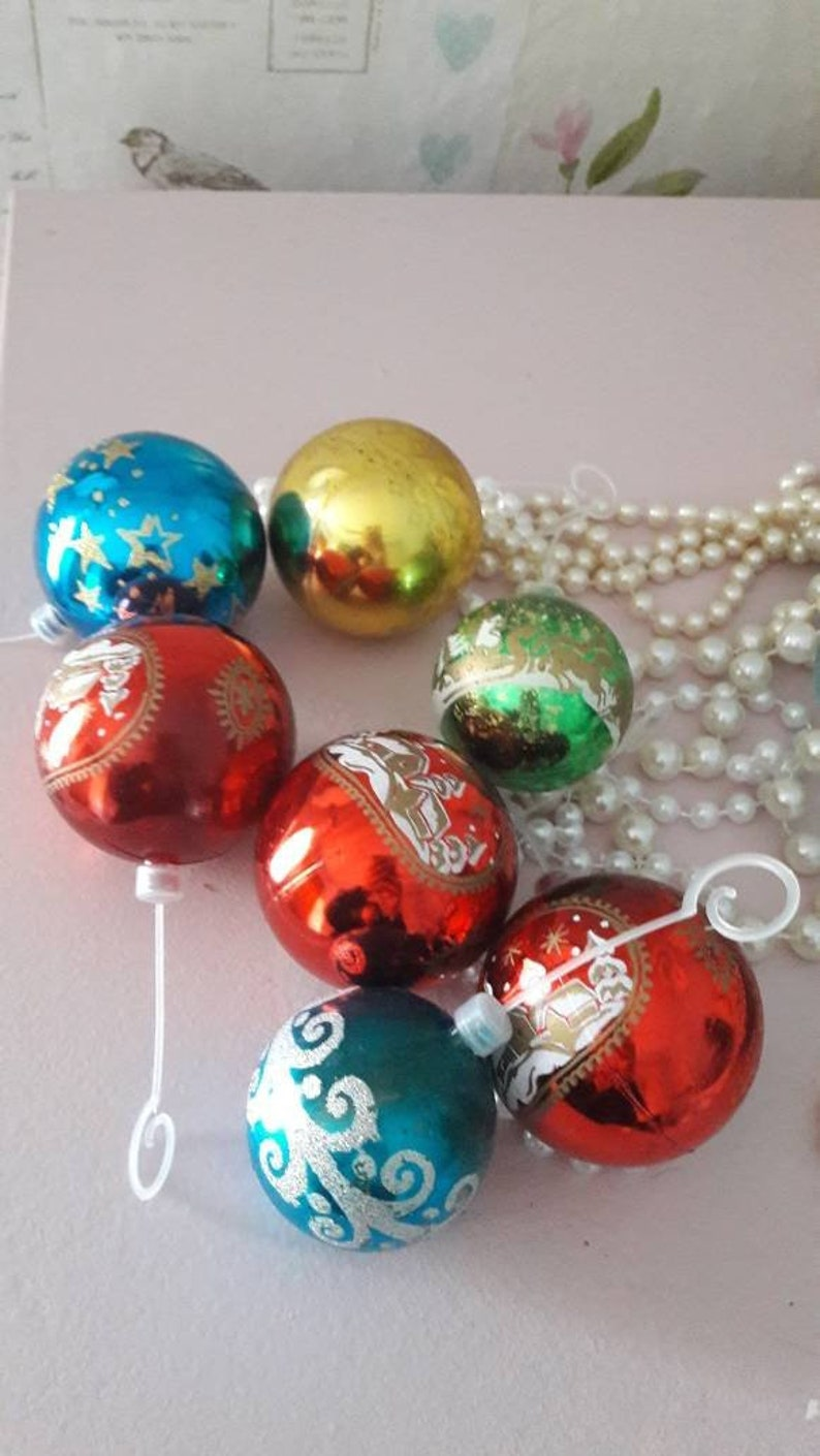 7 Christmas Tree Baubles Retro Holidays Ornaments Vintage Festive Tree Decor Free Uk Shipping