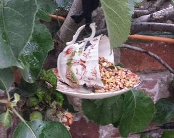 Teacup bird feeder, yard ornament, vintage bird feeder garden decoration, outdoor decor, gift for her, pretty cottage garden decor.