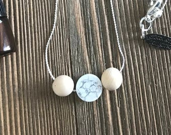 Howlite Delicate Essential Oil Diffuser Necklace -- FREE SHIPPING