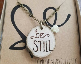 The ORIGINAL Statement Essential Oil Diffuser Necklace // 'be Still'  -- FREE SHIPPING
