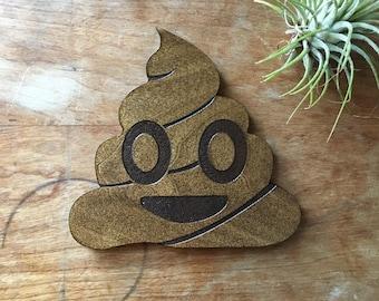 Wood coaster, poop emoji, laser cut, gag gift, for men, new mom gift, under 15, wood drink coaster, pile of poop, housewarming gift