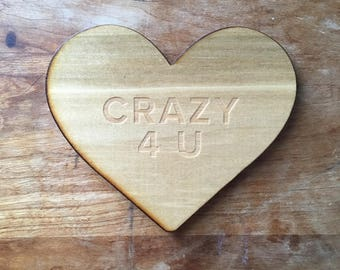 Wooden Coaster Crazy For You Galentines Gift for Mom Handmade Gift for Coffee Lover Best Friend Gift Gift Under 20 Valentines