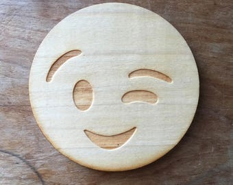 Wink Emoji, Emoji Coaster, Wood Coaster, Wood Coasters, Gift for Her, Emoji Movie, Funny Gift, Housewarming, Unique Gift, stocking stuffers