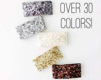 Glitter Snap Clip Set of 1, 3, 5, 7 or 10 - create your own set of extreme glitter snap clips, glitter and leather clips 3 WEEK TURNAROUND