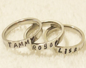 Stackable Name Ring, Personalized Stackable Ring, Custom Name Ring, Hand Stamped Ring, Stainless Steel Name Ring, 3mm Ring (HSSR0001)