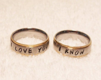 Personalized Couples Rings, 2 Rings - Matching Couples Rings - Brushed Stainless Steel with Gold Edges (HSSR0002)