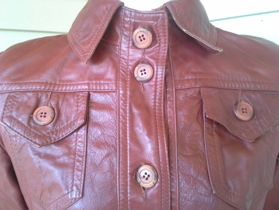 70's leather jacket/fitted/ long jacket/brown lea… - image 2