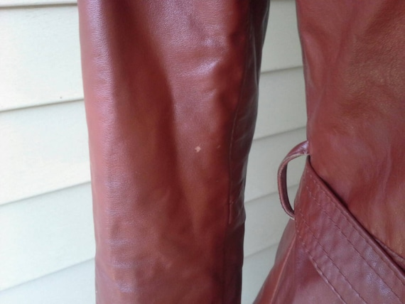 70's leather jacket/fitted/ long jacket/brown lea… - image 4