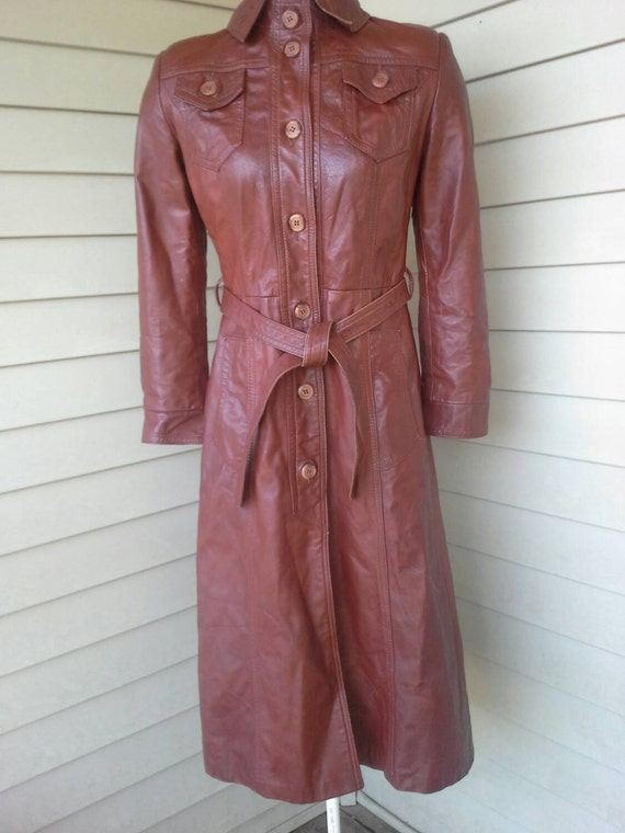 70's leather jacket/fitted/ long jacket/brown lea… - image 1