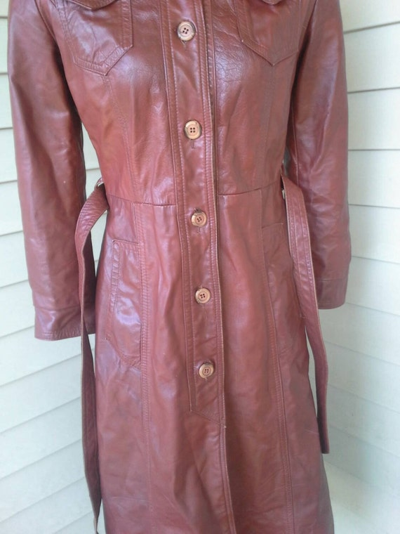 70's leather jacket/fitted/ long jacket/brown lea… - image 5