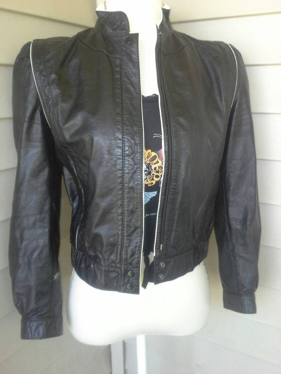 Leather jacket, 80's jacket, vintage leather