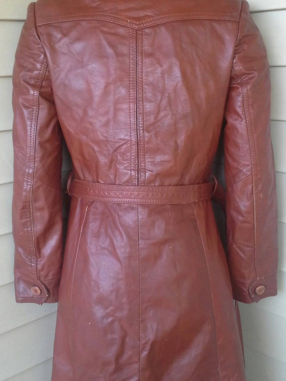 70's leather jacket/fitted/ long jacket/brown lea… - image 3