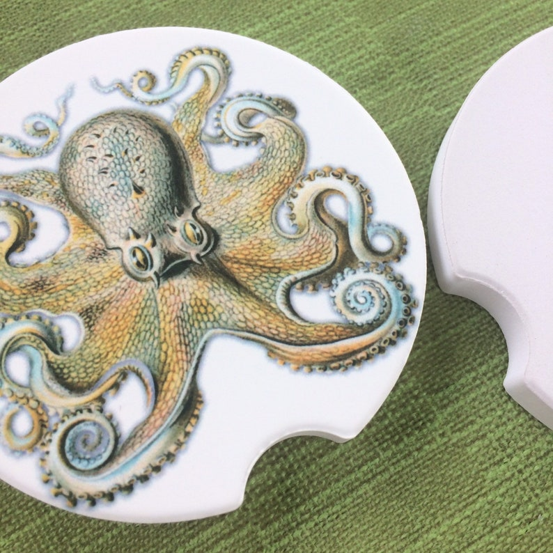 2 Octopus Car Coasters Round Sandstone Coaster Set Car image 0
