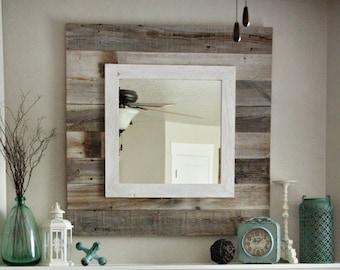 Barn wood Slat Mirror w/white Overlay