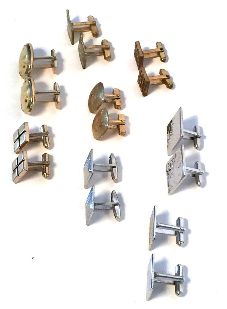 Collection of 8 Pair Vintage Cuff Links Gold /& Silver Tone,Formal Wear,Gift for Him,Suit and Tie,Groom Gift,Groomsmen Gift
