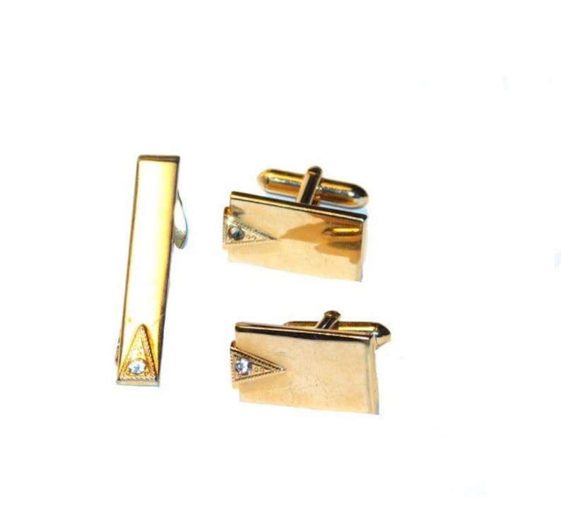 28ebf666de79 SWANK Cufflink & Tie Clip SetGold Tone MetalMad Men | Etsy