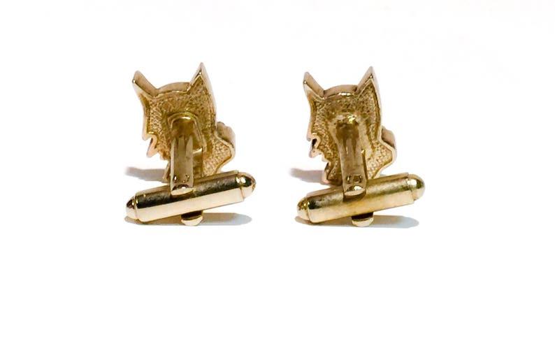 Vintage Gold Tone Dog Cufflinks,Black Enamel,Dog Lover Cufflinks,Pluto Cufflinks,Gift for Dog Groomer,Vintage Dog Head Cufflinks