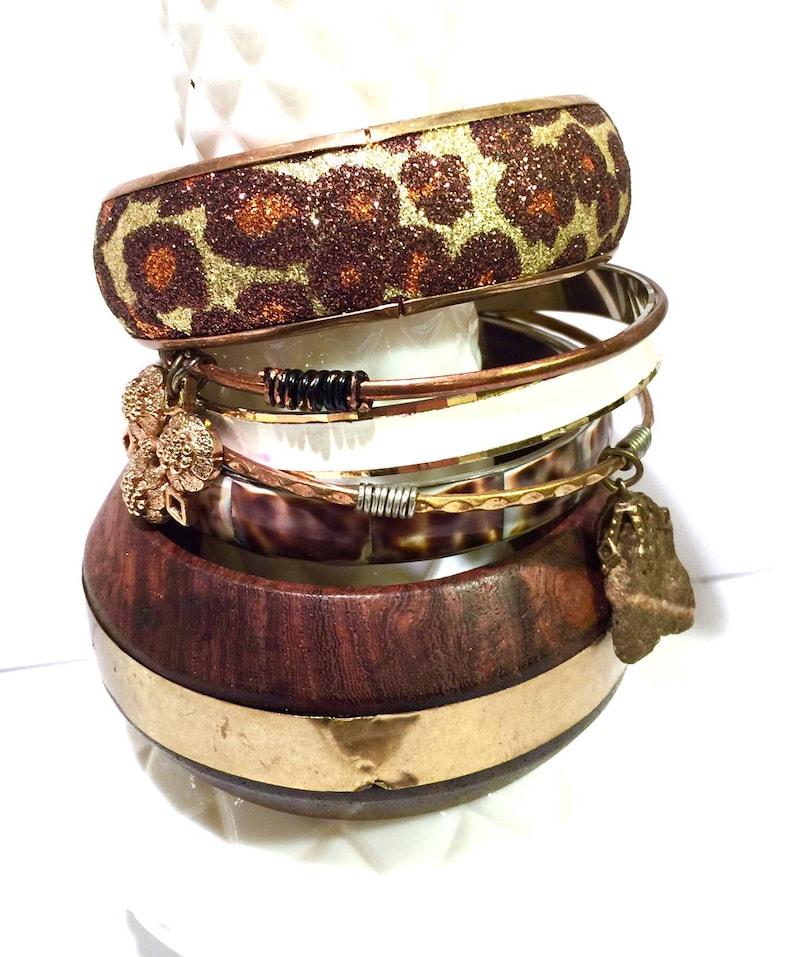 ed2651b88cf Lot of 6 Vintage Bangle BraceletsChunky BangleWooden   Etsy