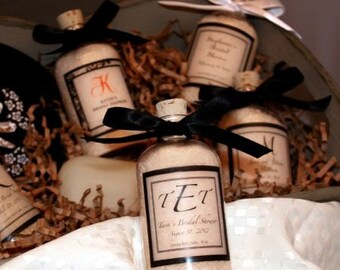 Bath Salt Favors, Monogrammed in Clear Jars with Corked Tops