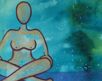 Inner Goddess Limited Edition original watercolor painting on watercolor paper (5X7) of the female body nude abstract-IG11