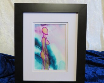 Inner Goddess Limited Edition original watercolor painting on watercolor paper (5X7) of the female body nude abstract-IG10