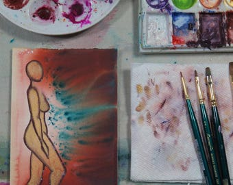 Inner Goddess Limited Edition Original Watercolor Painting on watercolor paper (5X7) of the female body nude abstract-IG7