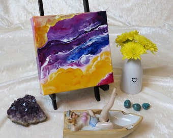 More Laughter in My Life No. 3027, Abstract Acrylic Paint, Original Painting, 6x6x1.5 Premier Gallery Canvas