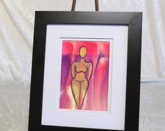 Inner Goddess Limited Edition original watercolor painting on watercolor paper (5X7) of the female body nude abstract-IG8