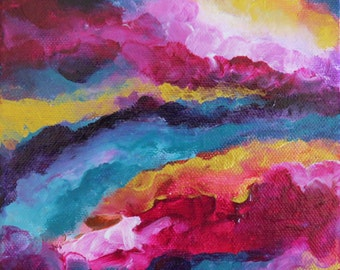 Attract My Soul Mate No. 3018, Abstract Acrylic Paint, Original Painting, 6x6x1.5 Premier Gallery Canvas