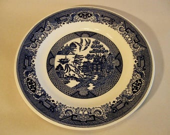 BLUE WILLOW Dinner PLATE Royal China 1950's Willow Ware Blue & White Large 10""