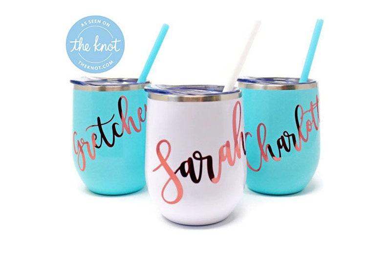 Custom Stainless Steel Tumbler in Blush Personalized Name Wedding Gift for Her Stemless Wine Cup Bev Steel-12oz