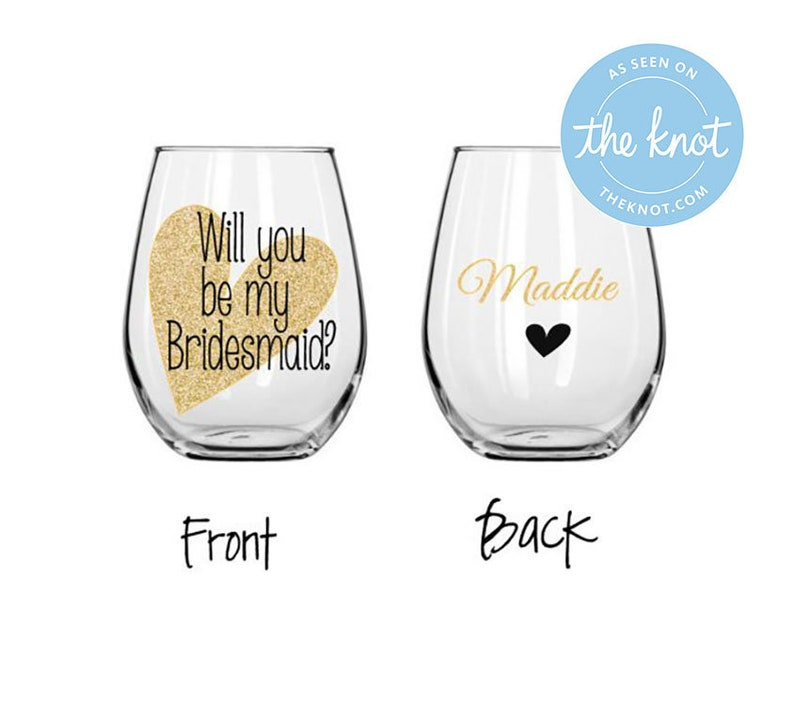 188d3f7c20f Will you be my bridesmaid wine glass? wedding party stemless wine glass,  personalized wedding party champagne glass, wedding party gift box