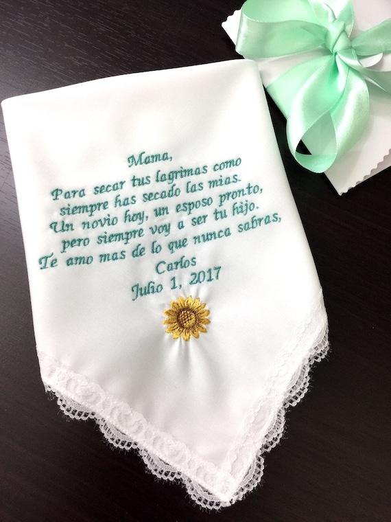 Madre del novio-Custom en Español boda pañuelo sol flor | Etsy