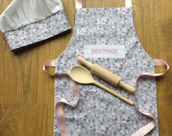 Personalised Children's Apron and Chef's Hat Baking Set Ditsy Floral Print With Utensils