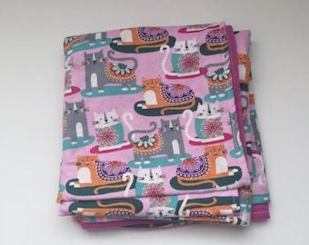 Cat Baby Blanket Flannel Baby Blanket Receiving Blanket Baby Shower Gift Kitty Blanket Boy Blanket Girl Blanket baby girl nursery