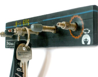 Key board with bicycle valves, upcycling unique with bicycle hose